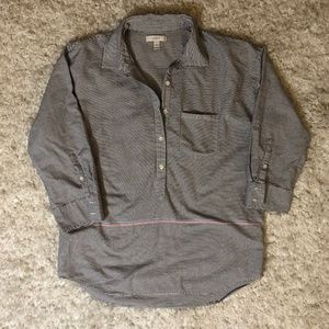 J. Crew Striped 3/4 Button Down Popover Blouse